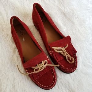 LUCKY BRAND | Red Suede Loafers